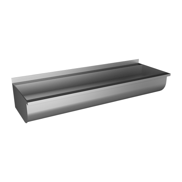 Stainless steel rounded trough without apron, from AISI 316L,1250 mm