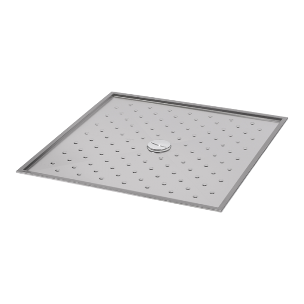 Stainless steel shower tray 1000 x 1000 x 15 mm