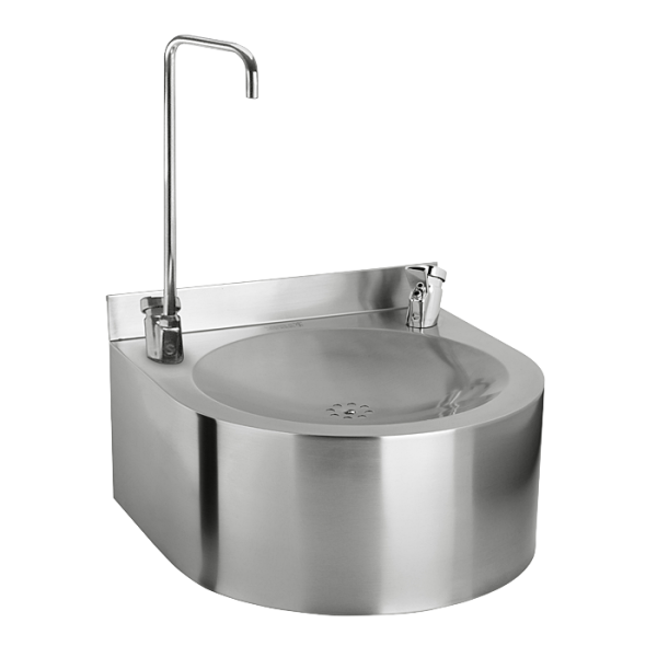 Stainless steel wall hung drinking fountain with bottle filler