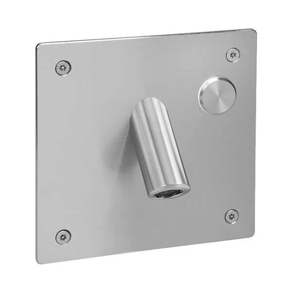Wall-mounted tap for cold or premixed water with a vandal-proof cover, 24 V DC