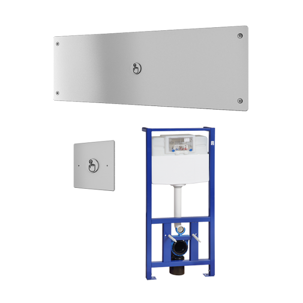 Piezo vandal-proof toilet flushing unit with distant control, including the frame SLR 21, 24 V DC
