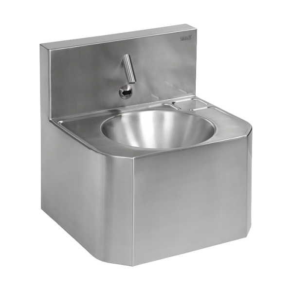 Vandal-proof stainless steel automatic wall-mounted washbasin, for cold or premixed water, 24 V DC