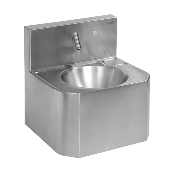 Vandal-proof stainless steel piezo wall-mounted washbasin, for cold and hot water, with thermostatic valve, 24 V DC