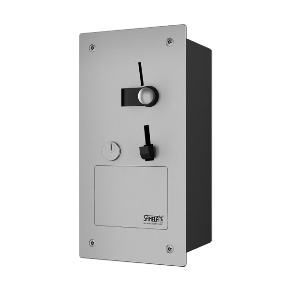 Recessed coin and token machine for door opening, 24 V DC