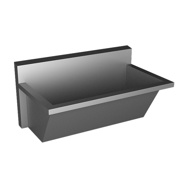 Stainless steel trough for hospitals, AISI 316L, length 2250 mm