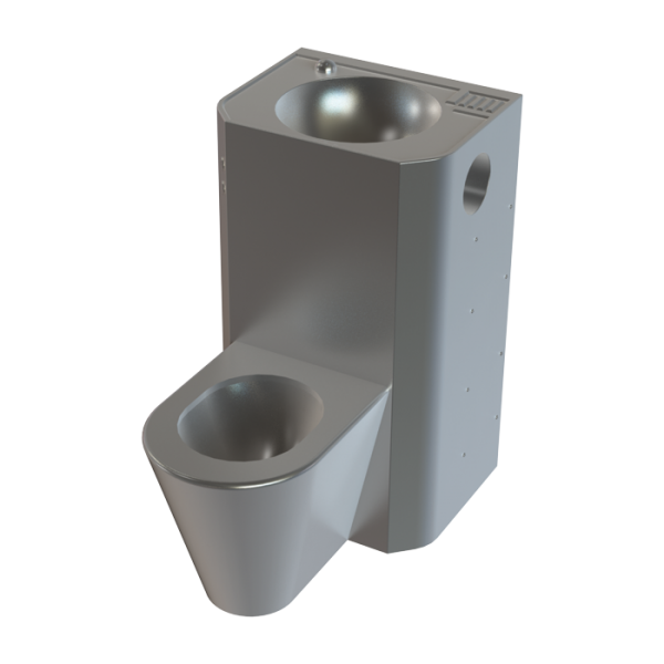 Vandal-proof combination unit with integrated piezo electronics, floor standing toilet, service hatch, brushed, 24 V DC