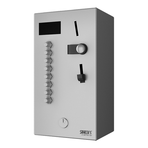 Coin and token machine for two to eight single-phase appliances 230 V, choice by the user, 24 V DC