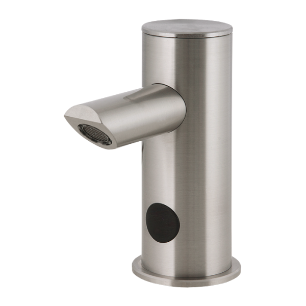 Automatic stainless steel washbasin tap for cold or premixed water, 6 V