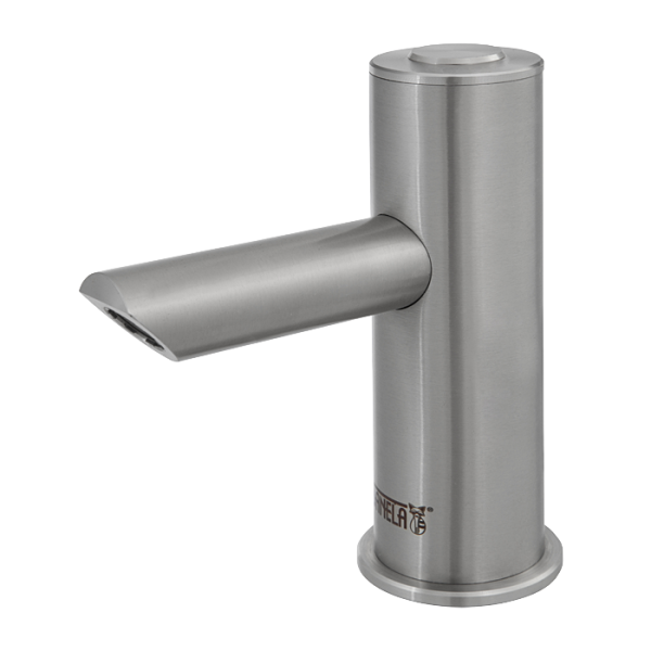 Piezo stainless steel washbasin tap for cold or premixed water, longer outlet arm, 6 V