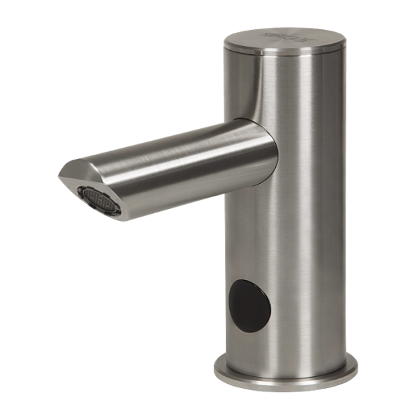 Automatic stainless steel washbasin tap for cold or premixed water, longer outlet arm, 6 V