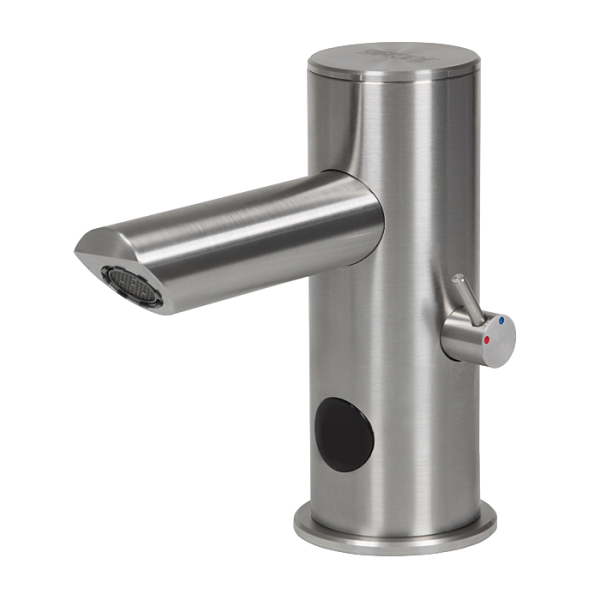 Automatic stainless steel washbasin tap with mixer, longer outlet arm, 6 V