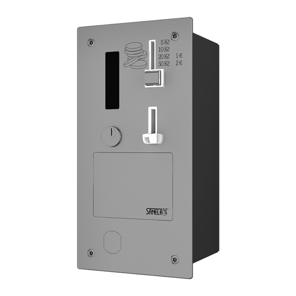 Recessed coin and token machine for door opening with GSM module, 24V DC