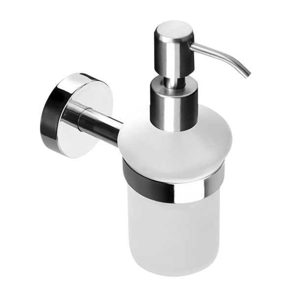 Stainless steel glass soap dispenser, polished finish