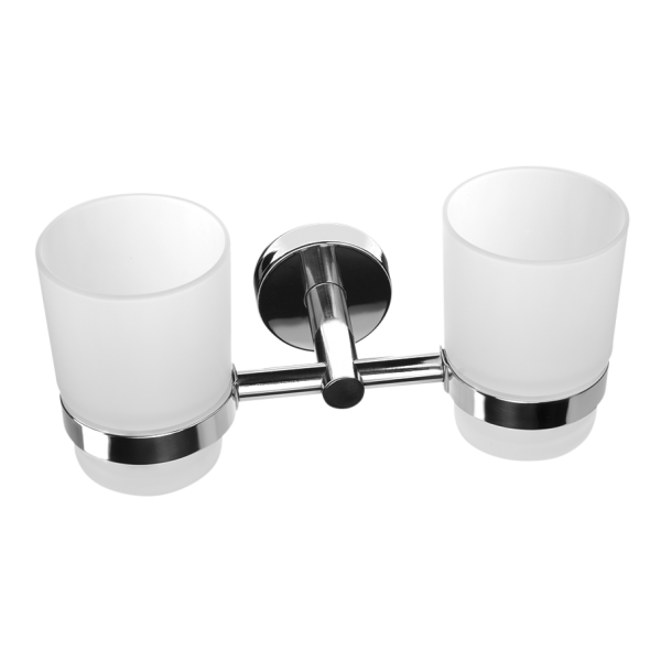 Stainless steel double glass holder, polished finish