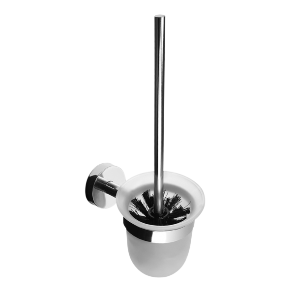 Stainless steel toilet brush with glass, polished finish